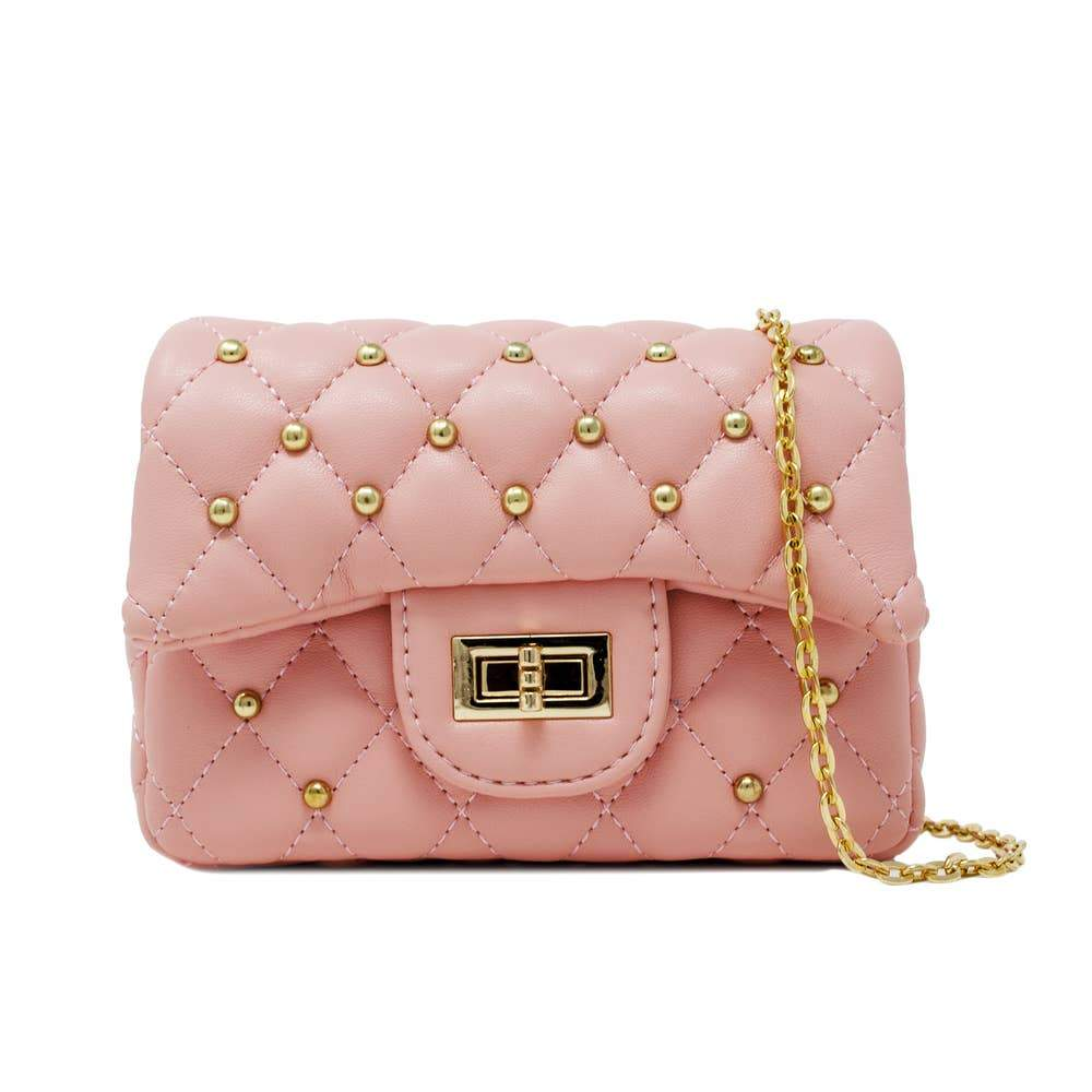 Pink Studded Quilt Mini Bag
