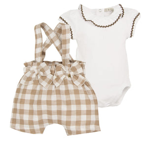 Checked Linen Short Set