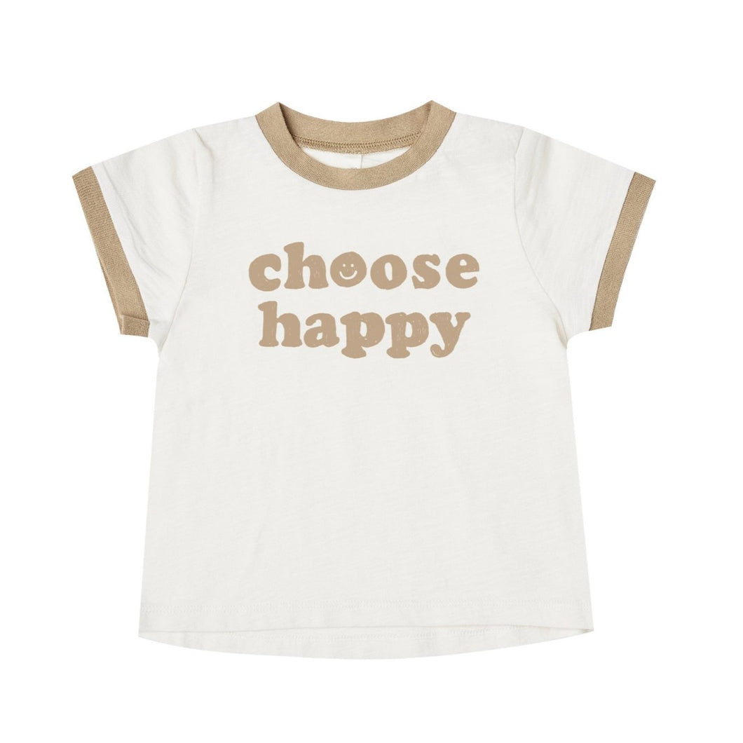 Choose Happy Ringer Tee || Ivory Amber