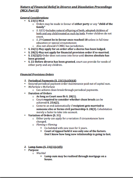 1st Class Family Law Revision Notes – 1st Class Law Revision Notes