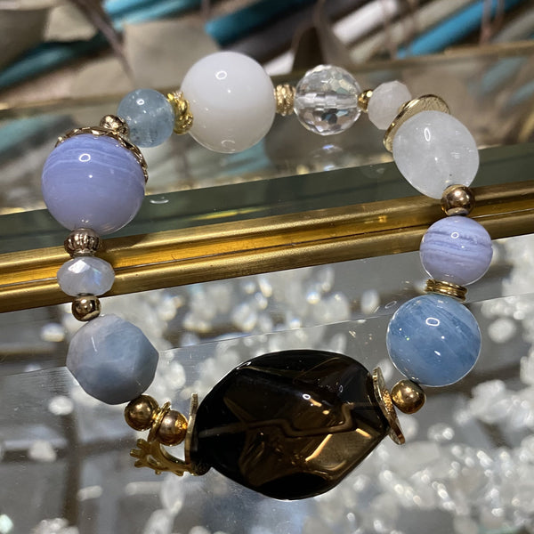 Aquamarine, Blue Lace Agate, Clear Quartz, Rainbow Moonstone, Smoky Quartz, Tridacna, Gold Hardware