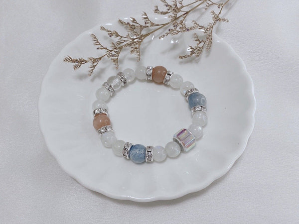 Aquamarine, Clear Quartz, Moonstone, Sunstone, Silver Hardware