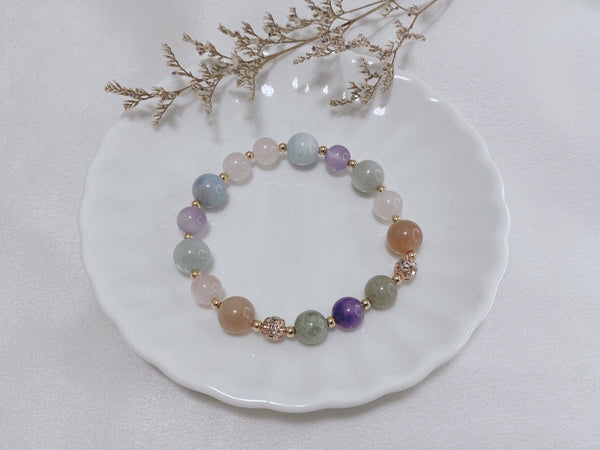 Aquamarine, Blue Quartz, Jadeite, Sunstone, Rose-Gold Hardware, Gold Hardware