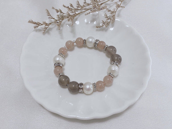Freshwater Pearl, Grey Agate, Strawberry Quartz, Silver Hardware