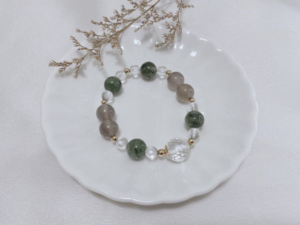 Clear Quartz, Green Rutilated Quartz, Grey Agate, Gold Hardware
