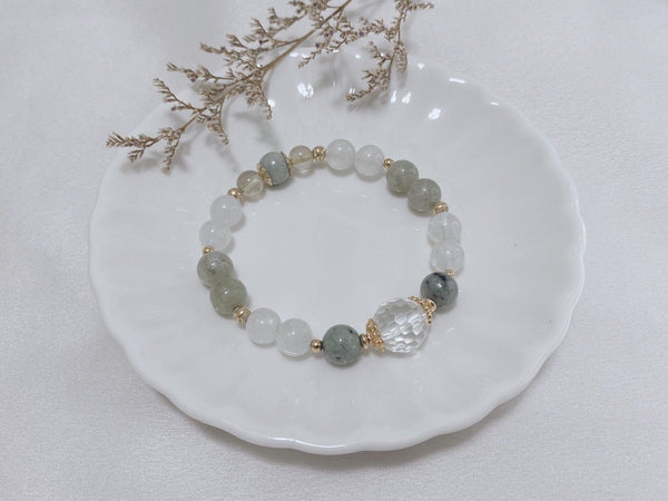 Clear Quartz, Jadeite, Moonstone, Rutilated Orange, Gold Hardware
