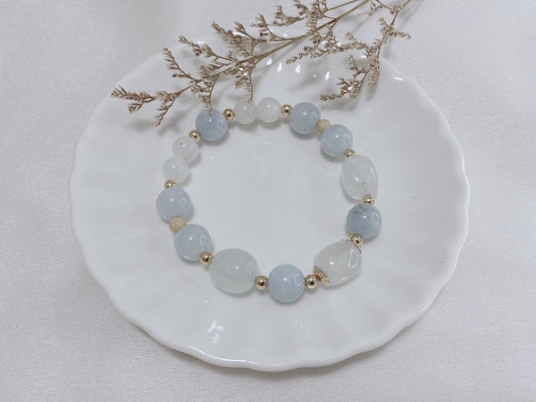 Aquamarine, Moonstone, Morganite, Gold Hardware