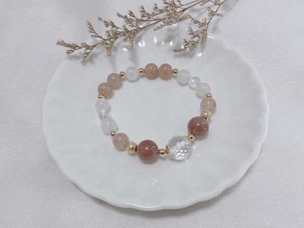 Crystal Quartz, Moonstone, Strawberry Quartz, Gold Hardware