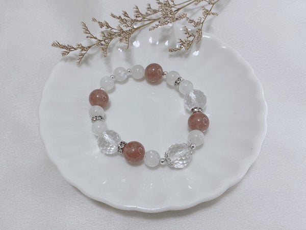 Clear Quartz, Moonstone, Strawberry Quartz, Silver Hardware