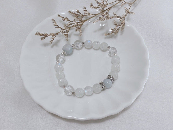 Aquamarine, Blue Quartz, Clear Quartz, Moonstone, Silver Hardware