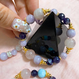 Chevron Amethyst, Rose Quartz, Kunzite, Gold Hardware