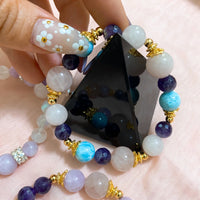 Chevron Amethyst, Larimar, Rose Quartz, Gold Hardware