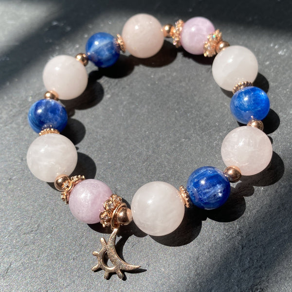 Rose Quartz, Kyanite, Kunzite, Rose Gold Hardware