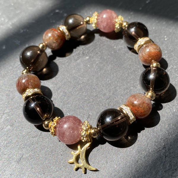 Smoky Quartz, Auralite 23, Strawberry Quartz, Gold Hardware