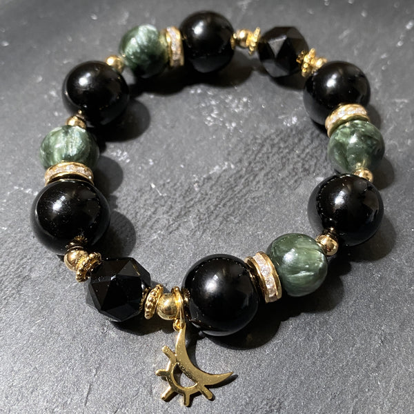 Black Tourmaline, Seraphinite, Black Spinel, Gold Hardware