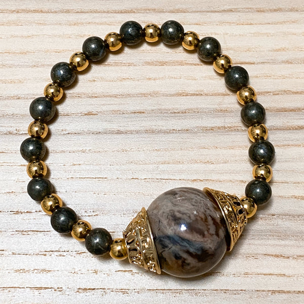 Petrified Wood, Pyrite, Gold Hardware