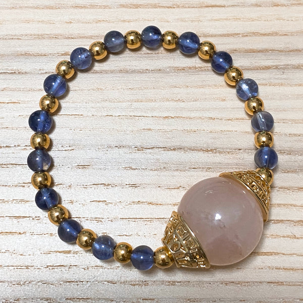 Iolite, Rose Quartz, Gold Hardware