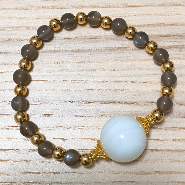 Brown Moonstone, Tridacna, Gold Hardware