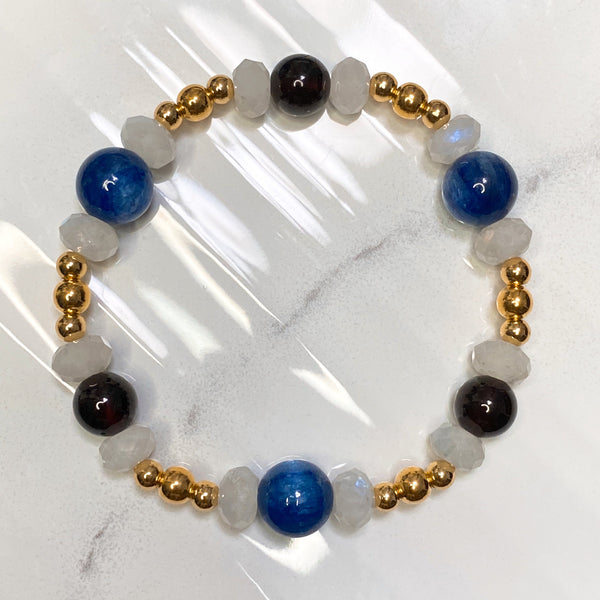 Garnet, Kyanite, Rainbow Moonstone, Gold Hardware