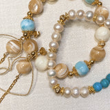 Freshwater Pearl, Stabilized Howlite, Brown Mother of Pearl, Mother of Pearl, Larimar, Gold Hardware