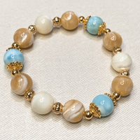 Larimar, Brown Mother of Pearl, Mother of Pearl, Gold Hardware