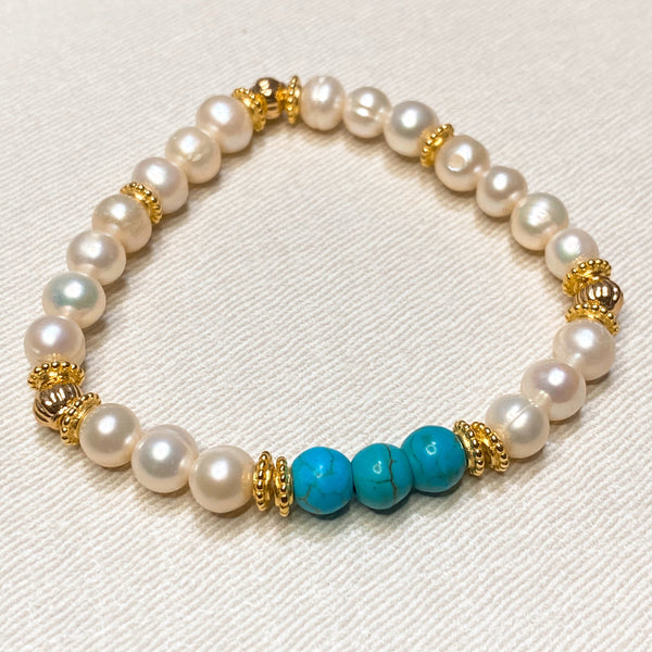 Stabilized Howlite, Freshwater Pearl, Gold Hardware
