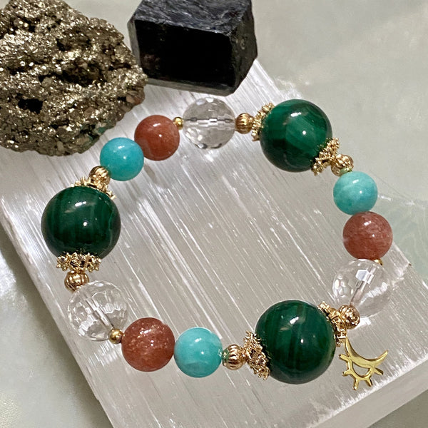 Amazonite, Malachite, Clear Quartz, Golden Strawberry Quartz, Gold Hardware