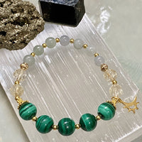 Jade, Malachite, Citrine, Gold Hardware