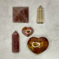 Red Agate Puffy Heart