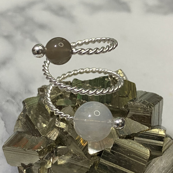 Brown Moonstone, Rainbow Moonstone, Silver Hardware