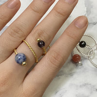 Gold Ring with Iolite & K2