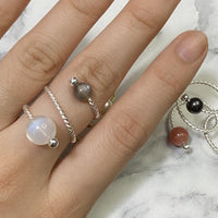 Silver Ring with Brown Moonstone & Rainbow Moonstone