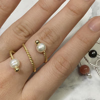 Gold Ring with Freshwater Pearls
