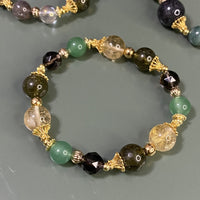 Green Garnet, Citrine, Aventurine, Smoky Quartz, Gold Hardware