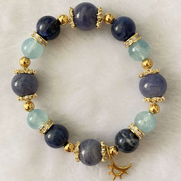 Aquamarine, Sodalite, Tanzanite, Gold Hardware
