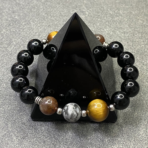 Black Tourmaline, Auralite 23, Yellow Tiger Eye, Silver Hardware, Crazy Lace Agate