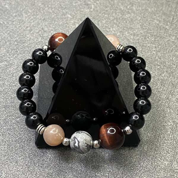 Black Tourmaline, Sunstone, Red Tiger Eye, Crazy Lace Agate, Silver Hardware