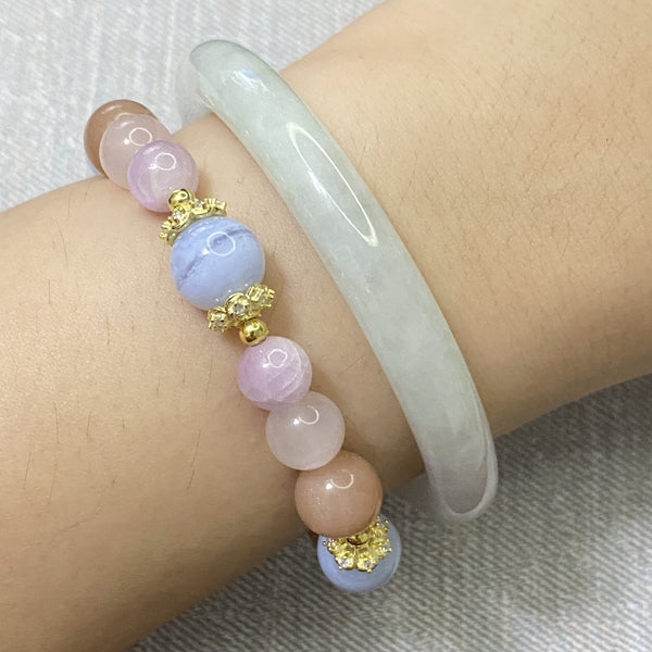 Blue Lace Agate, Kunzite, Rose Quartz, Sunstone, Gold Hardware