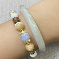 Blue Lace Agate, Mookaite, Brown Mother of Pearl, Mother of Pearl, Gold Hardware