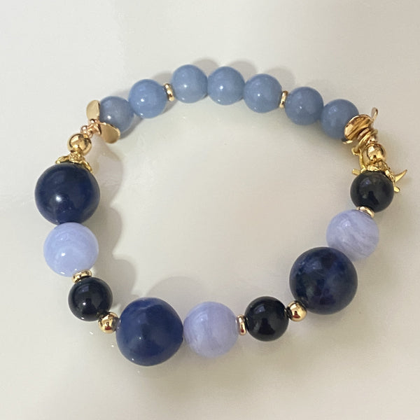 Angelite, Blue Lace Agate, Golden Obsidian, Sodalite, Gold Hardware