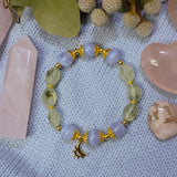 Blue Lace Agate, Prehnite, Gold Hardware