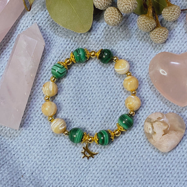Malachite, Brown Mother of Pearl, Gold Hardware