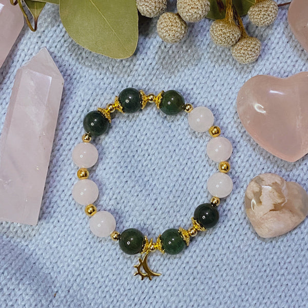 Moss Agate, Rose Quartz, Gold Hardware