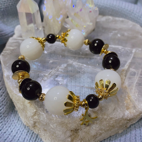Tridacna, Black Tourmaline, Gold Hardware