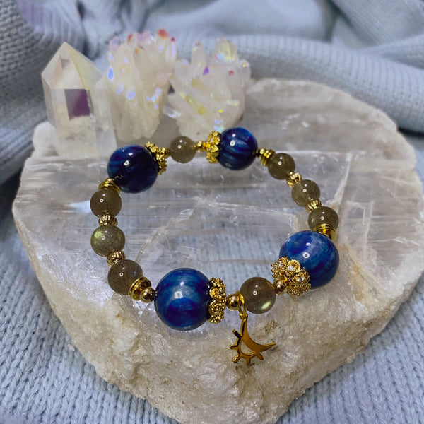 Labradorite, Kyanite, Gold Hardware