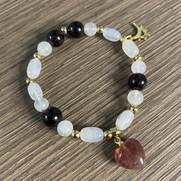 Garnet, Moonstone, Strawberry Quartz, Gold Hardware