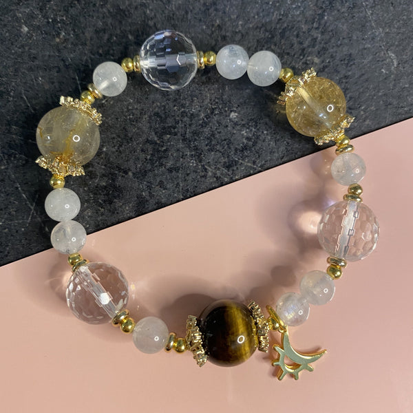 Citrine, Clear Quartz, Golden Rutilated Quartz, Yellow Tiger Eye, Gold Hardware