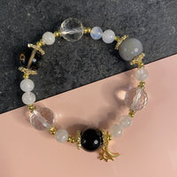 Black Tourmaline, Botswana Agate, Clear Quartz, Moonstone, Smoky Quartz, Gold Hardware