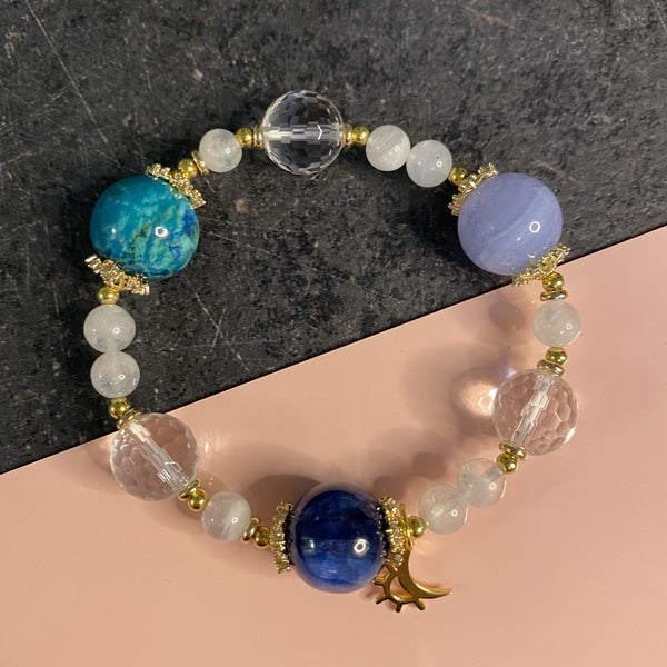 Blue Lace Agate, Chrysocolla, Clear Quartz, Kyanite, Moonstone, Gold Hardware