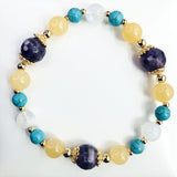 Yellow Jade, Stabilized Howlite, Moonstone, Gold Hardware